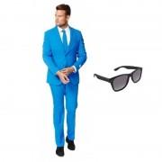 Opposuits Blauw heren kostuum maat 52 (XL) met gratis zonnebril