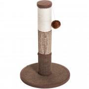 PawHut Coluna Arranhador para Gato Arranhador Árvore para Arranhar 1 Bola para Brincar Revestido de Peluche Sisal Natural 30x30x46 cm Castanho