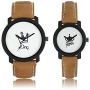 idivas 107 Round Dial Brown Leather Strap Analog Men's Women's Couple Watch - Lr-King Queen