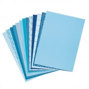 Folia Blue Patterned Card & Paper- 30 sheets. Size 24cm x 34cm. Weight 270gsm. Ideal for card making and craft decorations.