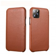 XOOMZ Curved Edge Litchi Texture Genuine Leather Phone Cover for Apple iPhone 11 Pro 5.8 inch - Brown