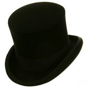 Black Mad Hatter Top Hat 100% Wool Victorian