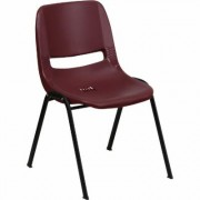 Flash Furniture Plastic Student Stack Chair - Burgundy w/Black Frame,880-Lb. Capacity, Model RUTEO1BY