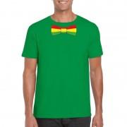Shoppartners Groen t-shirt met Limburgse vlag strik voor heren