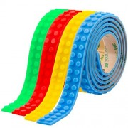 Building Block Tape Toy Roll Silicone Sticky for Kids with Reusable Self-Adhesive Strips Educational Toys for Boys & Girls, 4 Rolls Set 13Feet/4meter (Red, Blue, Green Yellow)