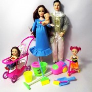 Family 5 People Dolls Suits 1 Mom /1 Dad /2 Little Kelly Girl /1 Baby Son/ Cleaning Tools Real Pregnant Doll Gifts Fashion Toys