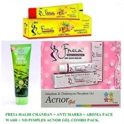 Freia Haldi Chandan + Freia Anti Marks + Aroma Face Wash +Acnor Gel - Say By By to Wrinkles Pimples Be Fair.