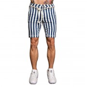 Bermuda Jeans Pargan Listrada Azul e Branco