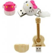 Green Tree Wooden Guitar Pendrive With Box 32 GB + Hello Kitty Fancy Usb Drive 32 GB Pen Drive(Gold)