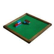 Brick Nation Wooden Lego Compatible Tray by Framed Green Plastic 10X10 Baseplate Perfect Travel Lap Table for Kids to Build On - with Duplo & Classic Bricks