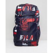 Fila Rouke All Over Logo Print Backpack In Navy - Navy