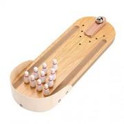Kingsida Wooden Desktop Bowling Game Classic Desk Ball Interactive Games Kids Children Learning Education Toys