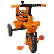 Children's Zone Kid's Tricycle with Safety Belt Bell & Front Back Basket for 2 years to 4 years - Orange