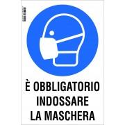 NUOVA ALGIS Cartello Obbligo Mascherina In Pvc Rigido 20x30 Cm