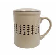 Cana cu infuzor si capac ceramica si inox 320 ML Bej