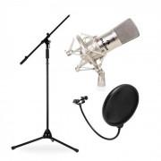 Auna Set Micrófono de estudio, soporte y protector anti-pop