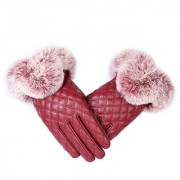 Modo Vivendi Women Warm Thick Winter Gloves PU Leather Elegant Girls Mittens Free Size With Fur Female Gloves Red