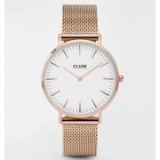 Дамски часовник CLUSE CL18112 La Bohème Rose Gold/White