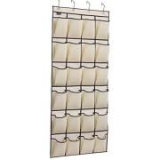 MISSLO Over the Door Shoe Organizer 24 Large Fabric Pocket Closet Accessory Storage Hanging Shoe Hanger, Beige...