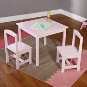 "GEN Hayden Kids White 3 Piece Table And Set Chair Simple Living Pink Chairs Bedroom Playroom Boys Girls Play Table dimensions: 23.6""W x 23.6""D x 20""H Chair dimensions: 11""W x 11.6""D x 22.25""H"