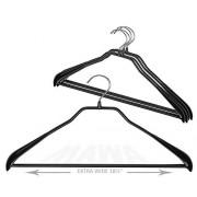"""MAWA por Reston Lloyd Bodyform Serie Antideslizante Space-Saving Clothes colgadero para Chaquetas, (18"""" Pants Bar), Negro, 1, 1"""