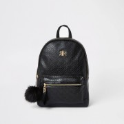 River Island Girls Black RI monogram backpack (One Size)