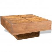 vidaXL Квадратна кафе маса от мангово дърво в античен стил, кафява