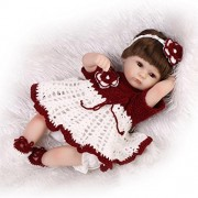 NPKDOLL Reborn Baby Doll Soft Simulation Silicone Vinyl 18inch 45cm Lifelike Vivid Boy Girl Toy Red White Flower Wig