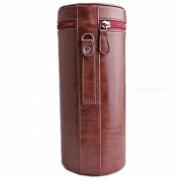 Ismartdigi cuero PU bolsa de la camara caso de la lente para todas las lente DSLR - Cafe