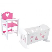 HL Set of Dolls Pink and White Wooden Rocking Cradle Cot Bed Matching Doll's Feeding High Chair Toy Furniture