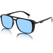 RESIST Rectangular Sunglasses(Blue, Silver)