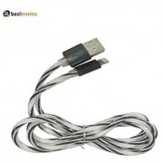 Basitronics Rainbow Twisted Lightning to USB Charging and Data cable 3 Feet 0.9 Meters Black