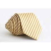 Pánská zlatá slim kravata s proužky - 6 cm