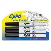 Low-Odor Dry-Erase Marker, Ultra Fine Point, Black, 4/pack