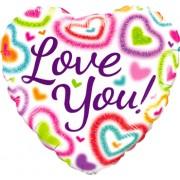 Qualatex Love You! Fuzzy Heart Foil Heart 18in/45cm