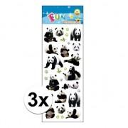 Merkloos 3x Stickervellen pandaberen