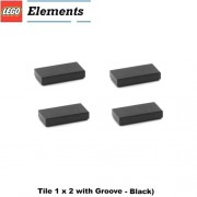 Parts - Tiles Lego Parts: Tile 1 x 2 with Groove (PACK of 4 - Black)