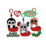 TY Baby Beanies Bundles (Mouse), Earmuffs (Penguin) & Jingly (Gingerbread) Keychain Ornaments Holiday (Christmas) Gift Set Bundle - 3 Pack