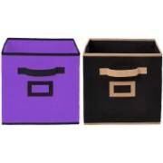 Billion Designer Non Woven 2 Pieces Small Foldable Storage Organiser Cubes/Boxes (Black & Purple) - CTKTC35168 CTLTC035168(Black & Purple)