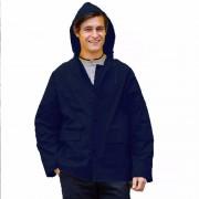 Merkloos Navy unisex regenjas met drukknoopsluiting voor volwassenen S/M (38/40- 48/50) - Regenjassen