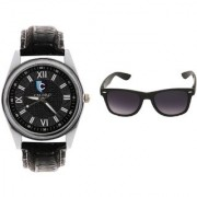 CALIBRO Men's Black watch Black Wayfarer Sunglass