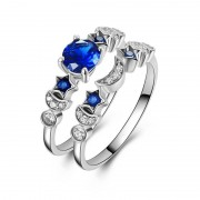 Meco Trendy Sapphire Star Moon Ring Set Jewelry Gift for Women