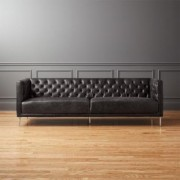 Savile Black Leather Tufted Sofa by CB2