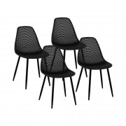 Chaise - Lot de 4 - 150 kg max. - Surface d'assise de 52 x 46,5 cm - Coloris noir