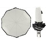 Elegantní deštník s tečkami 10 dratový automatické zavírání bílý