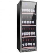 Vitrina de vinuri Nevada Concept NW140S-S, 140 sticle, negru/inox