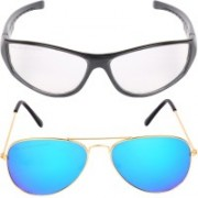 Aligatorr Aviator, Retro Square Sunglasses(Blue, Clear)