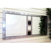 Zen Pewter Mirror with Leatherette Inserts