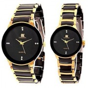 IIK Collection Stylish Casual Watches For Mens Golden black- Combo of 2 Men Women Watch