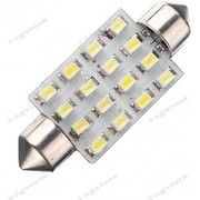 Bec led auto sofit / festoon (C5W) 39mm 16 SMD 1206 alb 6000K